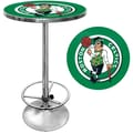 Trademark Global® 27.37in. Solid Wood/Chrome Pub Table, Green, Boston Celtics NBA