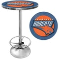 Trademark Global® 27.37in. Solid Wood/Chrome Pub Table, Blue, Charlotte Bobcats NBA
