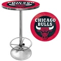 Trademark Global® 27.37in. Solid Wood/Chrome Pub Table, Brown, Chicago Bulls NBA