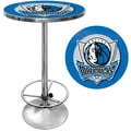 Trademark Global® 27.37in. Solid Wood/Chrome Pub Table, Blue, Dallas Mavericks NBA