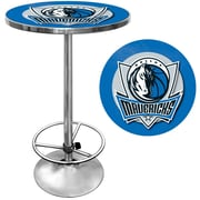 "Trademark Global® 27.37"" Solid Wood/Chrome Pub Table, Blue, Dallas Mavericks NBA"