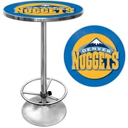 "Trademark Global® 27.37"" Solid Wood/Chrome Pub Table, Blue, Denver Nuggets NBA"