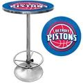 Trademark Global® 27.37in. Solid Wood/Chrome Pub Table, Blue, Detroit Pistons NBA