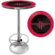"Trademark Global® 27.37"" Solid Wood/Chrome Pub Table, Red, Houston Rockets NBA"