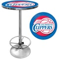 Trademark Global® 27.37in. Solid Wood/Chrome Pub Table, Blue, Los Angeles Clippers NBA