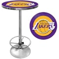 Trademark Global® 27.37in. Solid Wood/Chrome Pub Table, Purple, Los Angeles Lakers NBA