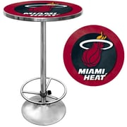 "Trademark Global® 27.37"" Solid Wood/Chrome Pub Table, Red, Miami Heat NBA"