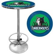 "Trademark Global® 27.37"" Solid Wood/Chrome Pub Table, Blue, Minnesota Timberwolves NBA"