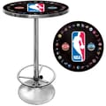 Trademark Global® 27.37in. Solid Wood/Chrome Pub Table, Black, Logo With All Teams NBA