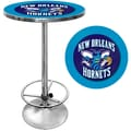 Trademark Global® 27.37in. Solid Wood/Chrome Pub Table, Blue, New Orleans Hornets NBA