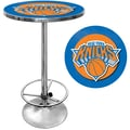Trademark Global® 27.37in. Solid Wood/Chrome Pub Table, Blue, New York Knicks NBA