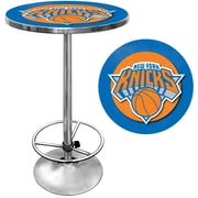 "Trademark Global® 27.37"" Solid Wood/Chrome Pub Table, Blue, New York Knicks NBA"