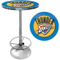 Trademark Global® 27.37in. Solid Wood/Chrome Pub Table, Blue, Oklahoma City Thunder NBA