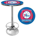 Trademark Global® 27.37in. Solid Wood/Chrome Pub Table, Blue, Philadelphia 76ers NBA