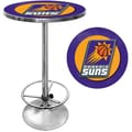Trademark Global® 27.37in. Solid Wood/Chrome Pub Table, Purple, Phoenix Suns NBA