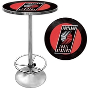 "Trademark Global® 27.37"" Solid Wood/Chrome Pub Table, Black, Portland Trail Blazers NBA"