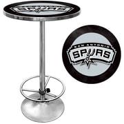 "Trademark Global® 27.37"" Solid Wood/Chrome Pub Table, Black, San Antonio Spurs NBA"