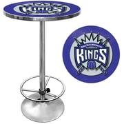"Trademark Global® 27.37"" Solid Wood/Chrome Pub Table, Blue, Sacramento Kings NBA"