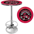 Trademark Global® 27.37in. Solid Wood/Chrome Pub Table, Black, Toronto Raptors NBA