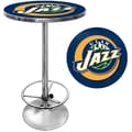 Trademark Global® 27.37in. Solid Wood/Chrome Pub Table, Blue, Utah Jazz NBA