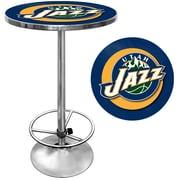 "Trademark Global® 27.37"" Solid Wood/Chrome Pub Table, Blue, Utah Jazz NBA"