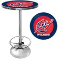 Trademark Global® 27.37in. Solid Wood/Chrome Pub Table, Blue, Washington Wizards NBA