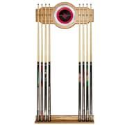 Trademark Global® Wood and Glass Billiard Cue Rack With Mirror, Houston Rockets NBA