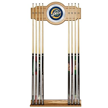 Trademark Global® Wood and Glass Billiard Cue Rack With Mirror, Utah Jazz NBA