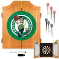 Trademark Global® Solid Pine Dart Cabinet Set, Boston Celtics NBA