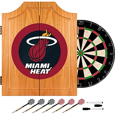 Trademark Global® Solid Pine Dart Cabinet Set, Miami Heat NBA