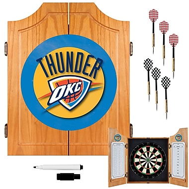 Trademark Global® Solid Pine Dart Cabinet Set, Oklahoma City Thunder NBA