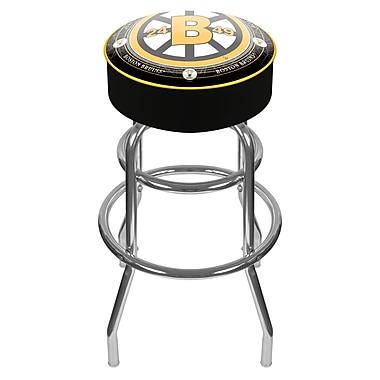 Trademark Global® Vinyl Padded Swivel Bar Stool, Black, NHL® Throwback Boston Bruins