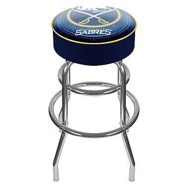 Trademark Global® Vinyl Padded Swivel Bar Stool, Blue, NHL® Buffalo Sabres