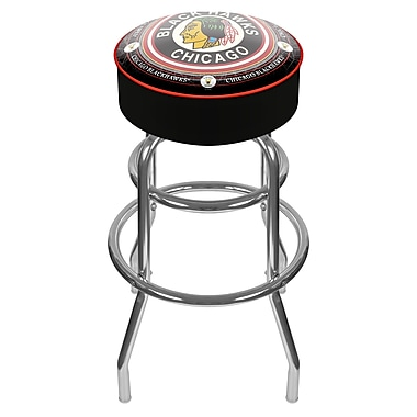 Trademark Global® Vinyl Padded Swivel Bar Stool, Black, NHL® Throwback Chicago Blackhawks
