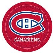 Trademark Global® Vinyl Padded Swivel Bar Stool, Red, NHL® Montreal Canadiens