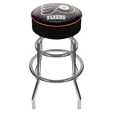 Trademark Global® Vinyl Padded Swivel Bar Stool, Black, NHL® Philadelphia Flyers