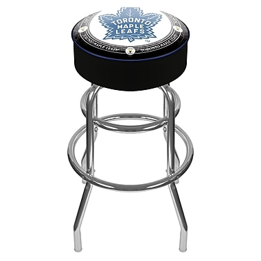 Trademark Global® Vinyl Padded Swivel Bar Stool, Black, NHL® Throwback Toronto Maple Leafs