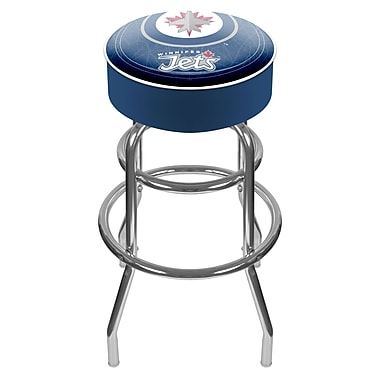 Trademark Global® Vinyl Padded Swivel Bar Stool, Blue, NHL® Winnipeg Jets