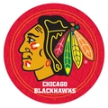 Trademark Global® 27.37in. Solid Wood/Chrome Pub Table, Red, NHL® Chicago Blackhawks