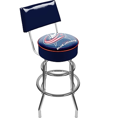 Trademark Global® Vinyl Padded Swivel Bar Stool With Back, Blue, NHL® Columbus Blue Jackets