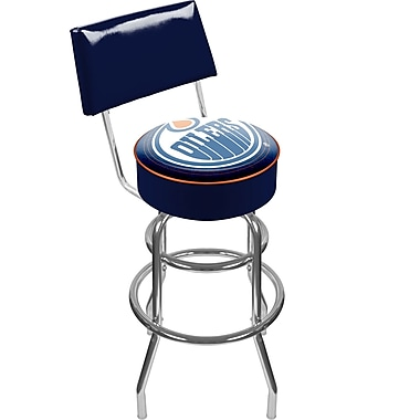 Trademark Global® Vinyl Padded Swivel Bar Stool With Back, Blue, NHL® Edmonton Oilers