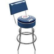 Trademark Global® Vinyl Padded Swivel Bar Stool With Back, Blue, NHL® Winnipeg Jets