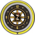 Trademark Global® Chrome Double Ring Analog Neon Wall Clock, NHL Boston Bruins