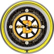 Trademark Global® Chrome Double Ring Analog Neon Wall Clock, NHL Vintage Boston Bruins