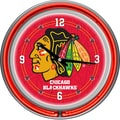 Trademark Global® Chrome Double Ring Analog Neon Wall Clock, NHL Chicago Blackhawks