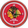 Trademark Global® Chrome Double Ring Analog Neon Wall Clock, NHL Chicago Blackhawks
