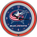 Trademark Global® Chrome Double Ring Analog Neon Wall Clock, NHL Columbus Blue Jackets