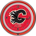 Trademark Global® Chrome Double Ring Analog Neon Wall Clock, NHL Calgary Flames