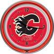 Trademark Global® Chrome Double Ring Analog Neon Wall Clock, NHL Calgary Flames