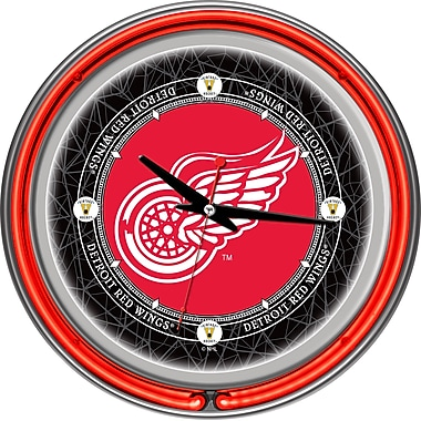 Trademark Global® Chrome Double Ring Analog Neon Wall Clock, NHL Vintage Detroit Redwings